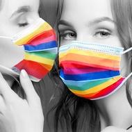 現貨 RM-A106 一次性防護彩虹口罩 50入/包 3層過濾 熔噴布 高效隔離汙染 (非醫療)