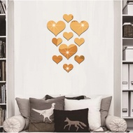 Love Mirror Wall Stickers Acrylic Mirror 3D Stereo Heart Mirror Wall Stickers