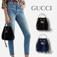 預購 義大利正品GUCCI GG Marmont leather-trimmed quilted velvet黑藍天鵝絨水桶包
