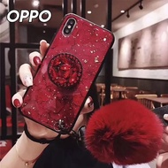 【韓式作風】OPPO RENO/RENO Z/AX7/AX5/R17/R15系列 復古新潮大理石紋毛球氣囊支架手機殼RCOPPO170(三色)