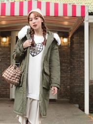 韓系毛領科技保暖羽絨大口袋長版外套