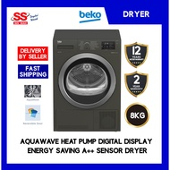 【 DELIVERY BY SELLER 】Beko 8KG DS8433RX1M BLACK Aquawave Heat Pump Digital Display Energy Saving A++ Sensor Drying Cloth
