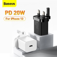 【3 Pin UK Plug 】Baseus Super Si USB C PD Charger 20W For iPhone 12 Pro Max 12mini Type C PD Fast Charging For iPhone X 11 Pro Max Samsung Huawei