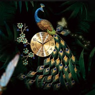 孔雀開屏精美奢華壁掛鐘-站立式