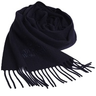 Vivienne Westwood 長版刺繡行星LOGO羊毛圍巾(深藍)
