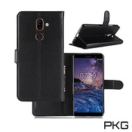 PKG Nokia 7 Plus側翻式-精選皮套-經典款式-黑