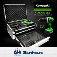 Kawasaki Power Tools Cordless Battery Drill 20V Brushless Impact Cordless Drill Set (K-AKN20 SET)