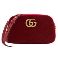 GUCCI GG Marmont 24cm 絎縫絨布相機包.紅