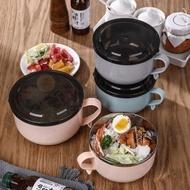 304不銹鋼泡面碗帶蓋日式可愛湯碗飯碗飯盒學生宿舍家用面碗單個
