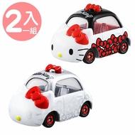 〔小禮堂〕Hello Kitty TOMICA小汽車 45週年大臉造型車組《2入.黑白紅》模型.玩具.公仔