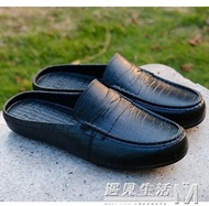 夏季英倫豆豆鞋防水涼拖鞋包頭半拖鞋男士沙灘鞋懶人休閒潮男涼鞋  遇見生活