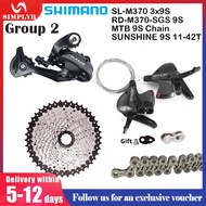 SHIMANO Altus M370 3x9 Speed Groupset SL-M370 w/inner Cable Shifter Left & Right MTB Mountain Bike Derailleurs 27 Speed Bicycle Transmission 9 speed shift lever derailleur SUNSHINE cassette 42T 46T 50T MTB Chain
