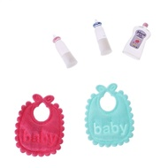New 1:12 Baby Bottles Shampoo Bib Set Doll House Miniature Nursery Accessory