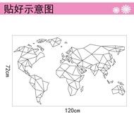 精品【Zooyoo壁貼】現貨!世界地圖壁貼 幾何線條七大洲板塊MAP自粘可移除墻貼