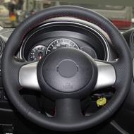 สีดำหนังHand-Stitchedพวงมาลัยรถยนต์พวงมาลัยสำหรับNissan Marchซันนี่Versa 2013 Almera