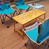 【May Shop】原木色加長摺疊木桌 電腦桌 露營桌(不含收納袋)