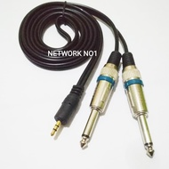 Kabel Audio Stereo Jack 3.5Mm To 2 Akai 6.5Mm Male To Male 1.5 Meter