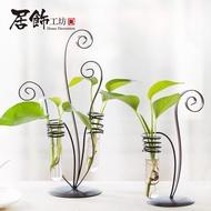 優質現貨創意試管花瓶小清新鐵藝水培容器個性植物透明玻璃瓶裝飾插花擺件