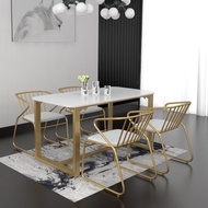 Northern Europe Marble Dining-table Modern Minimalist Rectangular Small Apartment Home Dining Tables And Chairs Set Dining Table 4-6 People