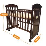 台灣製 可搖側板可升降原木組合小床 嬰兒床 6188A