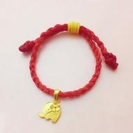 黃金手鍊【小花小象-小朋友】客製化商品 蠶絲蠟線手繩可做親子手繩 9999純金