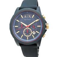 AX 手錶 ARMANI EXCHANGE AX1335 三眼計時 日期 灰藍色膠帶男錶