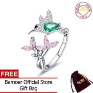 BAMOER Perak 925 Sterling Silver Perhiasan Bening CZ Hadiah Bercahaya Jari 100% Adjustable Nov BSR016 Hummingbird Cincin untuk Wanita