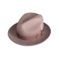 美國 NEW YORK HAT手工紳士帽 - THE FEDORA 三凹長簷紳士帽 - 杏仁色