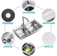 水槽 arrow箭牌 304廚房不銹鋼水槽雙槽左小右大洗菜盆加厚反向水槽 JD免運