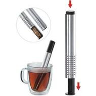 按壓式不鏽鋼泡茶器濾茶器 伸縮茶葉過濾器 濾茶沖茶棒