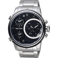 RHYTHM 日本麗聲 三地時區石英手錶-黑x銀/47mm I1502S02