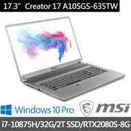 MSI微星【贈M365】Creator 17 A10SGS-635TW 17吋 4K輕薄創作者筆電(i7-10875H/32G/2T SSD/RTX2080S-8G/W10