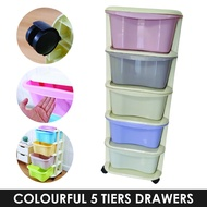 Colorful Storage Cabinet Foldable Organizer Plastic Drawer 5 tiers