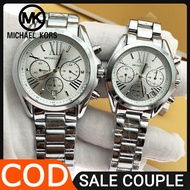 Mk Watch for Women and Men Pawnable Sale Original Authentic Silver 50m Waterproof Michael Kors Couple Watch Original Sale Casual Formal Watch for Men and Women Stainless Steel 5605S1