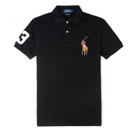 【RALPH LAUREN】Polo 必備經典刺繡彩大馬短袖Polo衫-黑色(CUSTOM SLIM FIT)