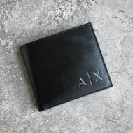 美國百分百【全新真品】Armani Exchange 皮夾 logo AX 男用短夾 零錢包 證件卡夾 黑色 AB07