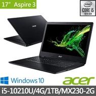 【贈256G SSD】Acer 最新10代 A317-51G-56PJ 17.3吋獨顯高效筆電-黑(i5-10210U/4G/1TB/MX230-2G/Win10)