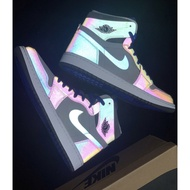 """Nike Air Jordan 1 Mid AJ1 High-Top LPL League of Legends Black and Blue """"Jay Chou Same Style"""" Reflective Basketball Shoes High-Top Sneakers"""
