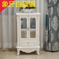 紅酒櫃歐式客廳小酒櫃矮帶玻璃門家用裝飾櫃實木帶抽屜簡約整裝