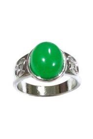 TANITTgems แหวนทองคำขาวประดับหยกแท้รูปไข่ - Green
