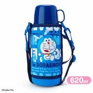 小禮堂 哆啦A夢 彈蓋不鏽鋼保溫瓶附水壺袋《藍.文字》620ml.水壺.水瓶