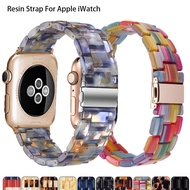 Resin Watch Strap For Apple Watch Series 6 SE 5 4 3 2 1 Transparent Steel Watch Band 42mm 38mm For I Watch Accessories 44mm 40mm watchband