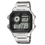 Casio แบตเตอรี่ 10 ปี World Time นาฬิกาข้อมือ สายสแตนเลส รุ่น AE-1200WHD-1A ของแท้ ประกัน CMG