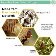 3x Reusable Beeswax Food Wrapping Beeswax Packaging Organic Beeswax Food Storage Wrap