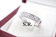 แหวนทองคำขาวหลุยส์เพชร 2 แถว น้ำ100 ฉลุลายแกะขอบเล่นไฟ พร้อมใบรับรองสินค้า เคลือบทองคำขาวแท้100%