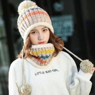【89 zone】法式毛毛球百搭加絨加厚保暖毛線/針織帽 + 圍脖(米白)