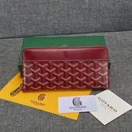 จัดส่งฟรีใหม่ Goyard Dogtooth ยี่ห้อกระเป๋าสตางค์ยาวซิ๊ปผู้ชายกระเป๋าสตางค์หนังทรงคลัทช์ฟันสุนัขกระเป๋าสตางค์