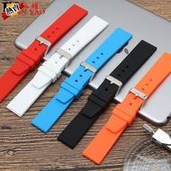 手錶帶 硅膠橡膠黑色適配天梭精工卡西歐18 20 22mm男女