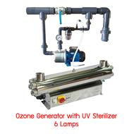 เครื่องฆ่าเชื้อโรคในน้ำด้วยรังสียูวี & โอโซน STAINLESS STEEL UV-C OZONE GENERATOR 480 Watt 6 Lamps ( สินค้าสั่งผลิต )