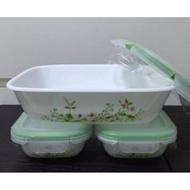 CORELLE Snapware 616 Glass Oblong Serve n Store 450ml/Airlock  Glass Unbreakable Microwave Food Storage
